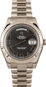 Rolex Day Date White Gold 218239 Black Roman Dial
