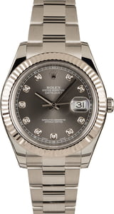 Pre-Owned 41MM Rolex Datejust 116334 Rhodium Diamond Dial
