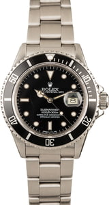 Used Rolex Submariner 16800 Stainless Steel Black Dial