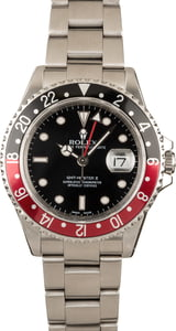 Pre-Owned Rolex Coke GMT Master II 16710 Red & Black