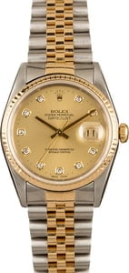 Rolex Datejust 16233 Champagne Diamond Dial Watch