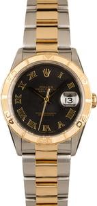 PreOwned Rolex Datejust Turn-O-Graph 16263 Black Dial