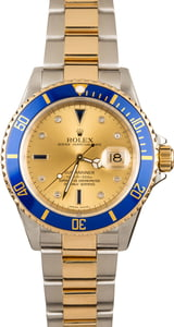 Rolex Submariner 16613T Champagne and Blue Serti
