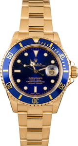 18k Yellow Gold Submariner 16618 Certified Pre Owned