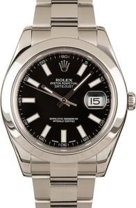Pre-Owned Rolex Datejust II 116300 Black Dial