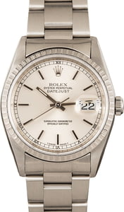 Pre-Owned Rolex Datejust 16220 Silver Index Dial