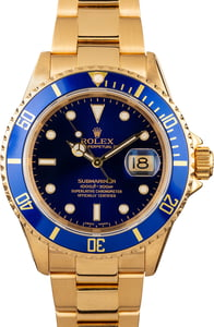 Men's Rolex Submariner 16618 Yellow Gold Oyster