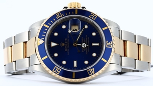 Rolex Blue Submariner 16613 Steel and Gold