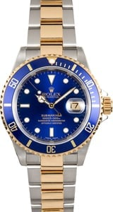 Blue Rolex Submariner Two-Tone 16613 No Holes