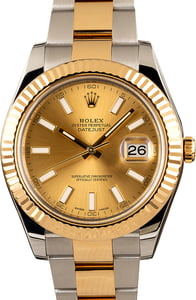 Datejust II Rolex 116333 Champagne Index Dial