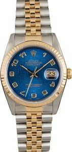 Pre Owned Datejust Rolex 16233 Blue Arabic Dial