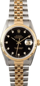 Datejust Rolex 16233 Black Diamond Dial