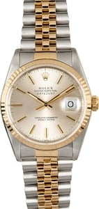 Datejust Rolex 16233 Silver Index Dial