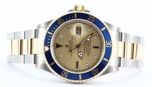 Blue Rolex Submariner Serti Diamond Dial 16613
