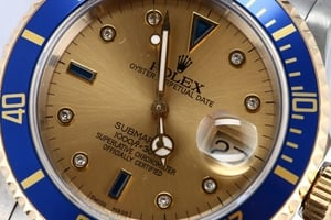 Blue Rolex Submariner Serti Dial 16613