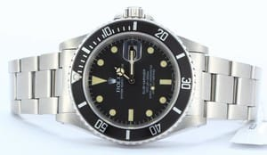 Mens Stainless Rolex Submariner 16800 Black Dial