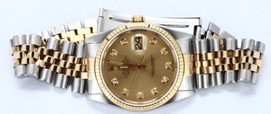 Rolex 16233 Datejust Champagne Diamond Dial