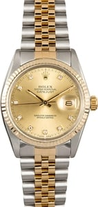 Rolex Datejust Stainless Steel and Gold 16013 Diamond