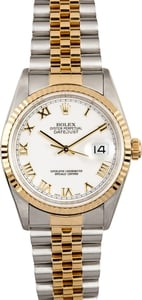 Rolex Two-Tone Datejust 16233 White Roman Dial