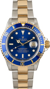 Submariner Rolex Blue Dial 16613 Two-Tone Gold Clasp