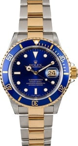 Men's Rolex Submariner Two-Tone Blue Face Model 16613