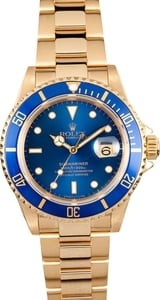 Rolex Submariner 18k Yellow Gold 16618