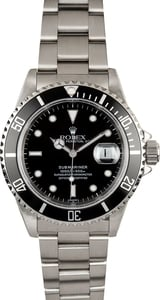 Rolex Stainless Steel Submariner 16610 Black Dial