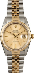 PreOwned Rolex Datejust 16233 Champagne Tapestry Index Dial