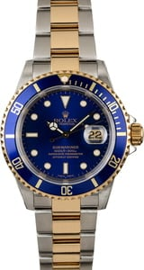 PreOwned Rolex Submariner 16613 Blue Luminous Dial