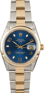 Pre Owned Rolex Date 15203 Blue Arabic Dial