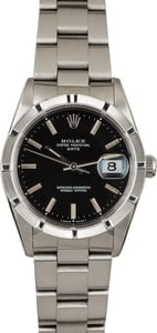 Rolex Date 15210 Black Dial Steel Watch