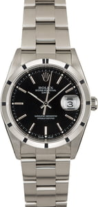 Used Rolex Date 15210 Black Dial Steel Watch