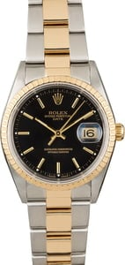 Used Rolex Date 15223 Black Dial Two Tone Watch