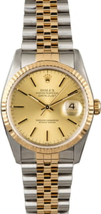 Rolex Datejust 16233 Champagne Dial Two Tone Watch