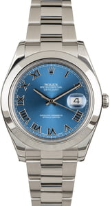 Pre-Owned Rolex Datejust II Ref 116300 Blue Roman Dial