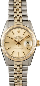 PreOwned Rolex Datejust 16013 Two Tone Jubilee Champagne Dial