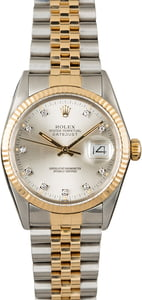 PreOwned Rolex Datejust 16013 Silver Diamond Dial