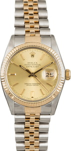 PreOwned Rolex Datejust 16013 Champagne Dial Two Tone Jubilee