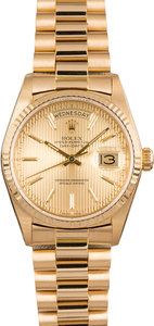 Pre Owned Rolex President Day-Date 18038 Tapestry Dial