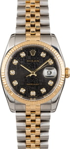 Pre Owned Rolex Datejust Two-Tone 116233 Black Diamond
