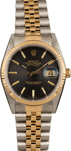 Pre-Owned Rolex Datejust 16233 Black Tapestry Watch