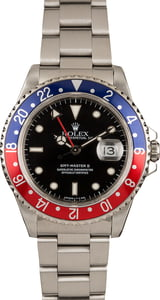 Used Rolex 'Pepsi' GMT Master II Ref 16710 Black Dial Watch
