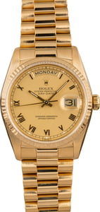 Pre-Owned Rolex President 18238 Roman Champagne Dial