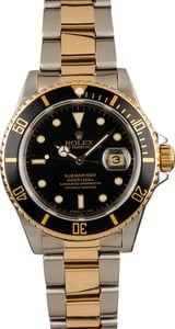 Pre-Owned Black Dial Rolex Submariner 16613 Two-Tone