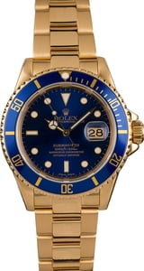 Pre-Owned Rolex 18k Yellow Gold Submariner 16618