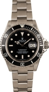 Used Rolex Steel Submariner 16610 No Holes Case