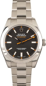 Rolex Milgauss 116400 Black Dial with Orange Accents