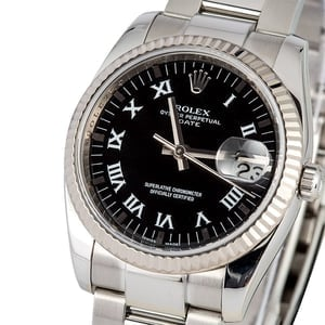 Used Rolex Date Reference 115234 with Black Dial