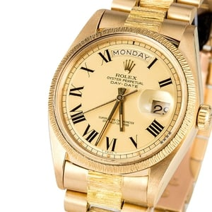 Rolex President 18k Gold Bark Finish 1807