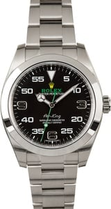 Pre-Owned Rolex Air-King 116900 Black Arabic Dial